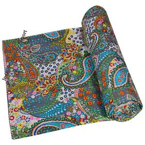 Indian-Kantha-Baby-Quilt-Blanket-Cotton-Throw-Bedspread-Coverlet-Bedcover-Kantha