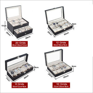 6-10-12-20-Slot-Men-Watch-Box-Leather-Display-Case-Organizer-Jewelry-Storage-US