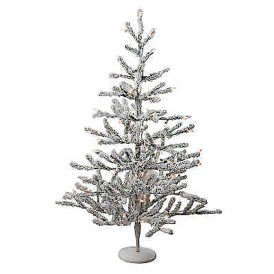 "36"" Pre-Lit Flocked Alpine Coral Artificial Christmas Tree ..."