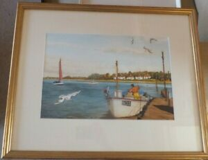 ORIGINAL-WATERCOLOUR-PAINTING-OF-A-BOAT-ON-THE-RIVER-SIGNED-B-TAYLOR