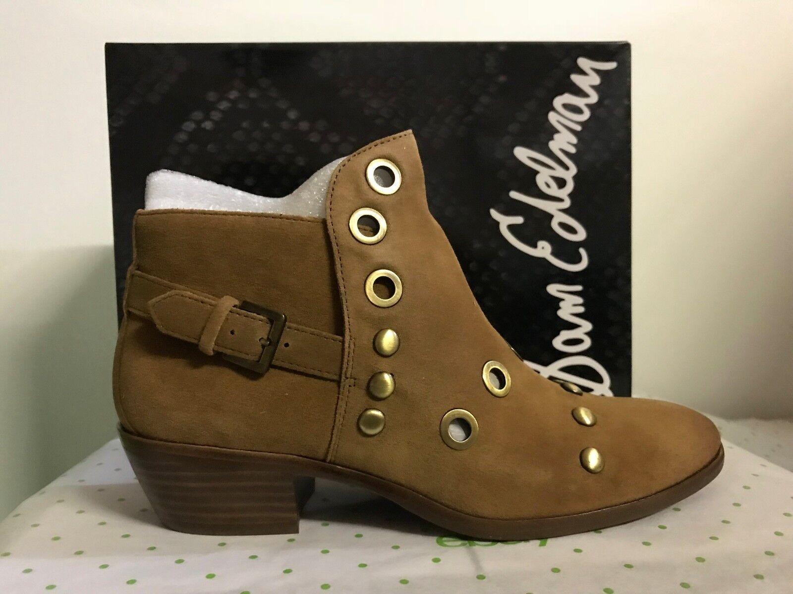 Sam Edelman Pedra Women's Grommet Detail Booties Suede Ankle Boots Brown