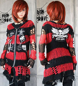 Chain-skull-tattered-Visual-Kei-Punk-Gothic-fashion-lolita-coat-Sweater-Cardigan