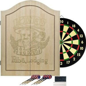 TG-King-039-s-Head-Value-Dartboard-Set-Light-Wood-Double-Sided-Board