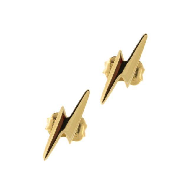 14k Yellow Gold Lightning Bolt Stud Earrings