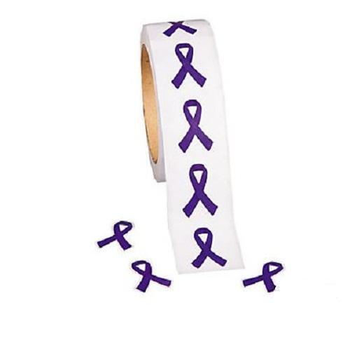 """Rodillo de la cinta de Concienciación cáncer púrpura Pegatinas 500 Pegatinas 1 1//2/"""""""