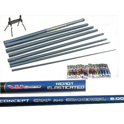 Carp Fishing Concept  Pole 12 Elastic Fitted 14 Carp Pole Rigs & Roller