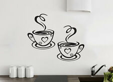 2 Tazze da Caffè Cucina Parete Adesivo da tè in Vinile ARTE Decalcomania Arredamento Ristorante Pub LOVE