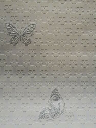 Glitzer Effekt Totenkopf Schmetterling Tapete Vlies Weiss Silber