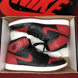 e3d1ad11ec79 2013 Nike Air Jordan I Retro 1 High OG BRED BLACK RED WHITE TOE ...