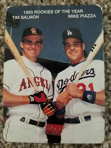 Details About 1994 Mothers Cookies 1993 Rookies Of The Year 1 Tim Salmon Mike Piazza Card