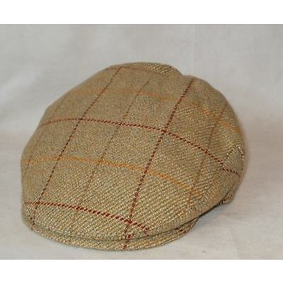 BABY FLAT CAP COUNTRY STYLE 100% WOOL MUSTARD OR GREEN TWEED SIZES 12 TO 24 MTHS