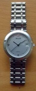 BULER-NEW-SWISS-MADE-WATCH-MATT-SILVER-amp-SILVER-PLATED-CASE-LEATHER-BAND