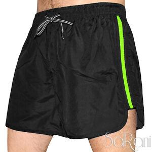 Costume da Bagno Uomo Nero Striscia Verde Fluo Pantaloncini Mare ...