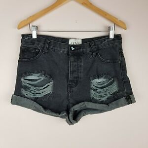 One-Teaspoon-Denim-Shorts-Size-30-Relaxed-Fit-High-Rise-Distressed