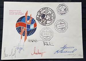 s2005-Raumfahrt-Space-Bordpost-Sojus-TM-7-MIR-1989-Atteste-7-autographs