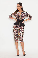 GENESE LONDON Designer Chic Animal/Leopard & Black Front Zip Dress  sz   14