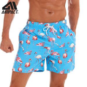 Mens-Board-Shorts-Flamingo-Quick-Dry-Hawaii-Summer-Beach-Swim-Surf-Hybrid-Shorts