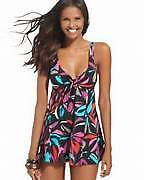 Swim Solutions Abstract Gardens 443099X Swim Dress  Black New with Tags