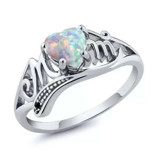 White Lab Opal Oval Heart Cutout Mom Ring Silver Copper Sizes 6-12 Gift New US
