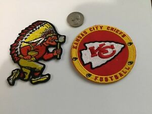 2-Kansas-City-Chiefs-Kansas-City-Chiefs-embroidered-iron-on-PATCH-LOT-Patches