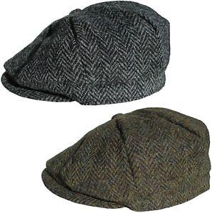 d603e7bd Mens Harris Tweed Bakerboy Cap 8 Panel Newsboy Hat Peaky Blinders ...