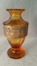 Moser Karlsbad Amber Crystal Art Glass Vase With Woman Warriors Gold Gilt 1920