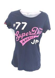SUPERDRY-Womens-T-Shirt-Top-XS-Navy-Blue-Pink-Cotton
