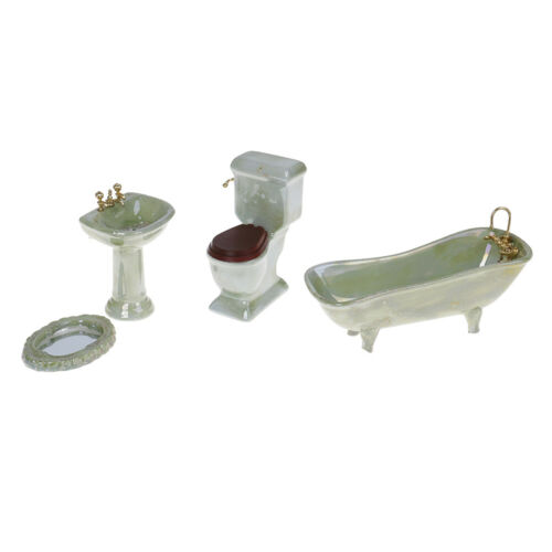 1:12 Dollhouse miniature green porcelain bathroom set toilet basin bathtub IJ