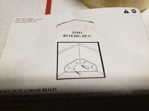 "NEW 3/"" Zinc Plated Heavy Duty Corner Braces Brainerd #32440 Angle Reinforcement"