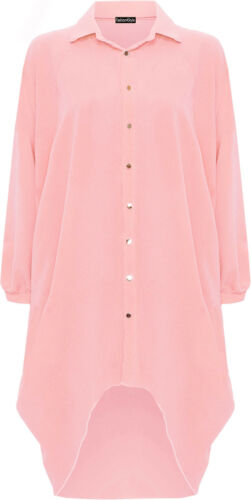 New Womens Plus Size Batwing 3 Qtr Sleeve Elle Shirt Ladies Dip Hem Dress 16-30