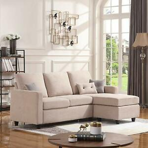 Details about Convertible Sectional Sofa L-Shaped Couch Small Space  Apartment Fabric Modern