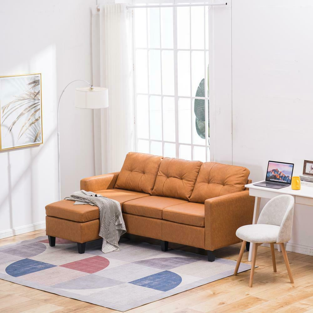 New Style Sectional Sofa L-Shaped Couch PU Reversible Chaise for Small Space US