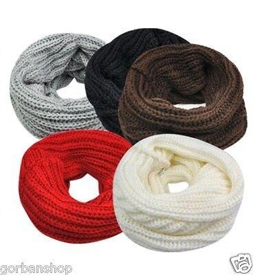 Femmes Crochet Tricot CircleTube Écharpe Hiver Enveloppe De Cou Jambière manchon