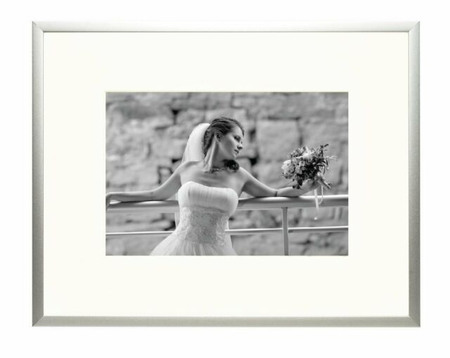 8x10 Aluminum Silver Photo Frame With Ivory Color Mat for 5x7 Table ...