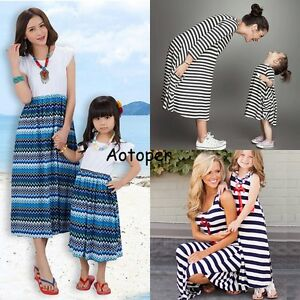 Summer-Family-Outfit-Clothes-Mother-Daughter-Matching-Dresses-Womens-Girls-Dress