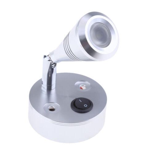 12V LED Wall Spotlight Reading Light Caravan//Boat 3W Cabin//Chart Lamp Silver