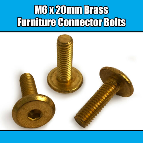M6 x 20mm Solid BRASS Furniture Connector Bolts Flat Hex Drive Joint Bed Cot