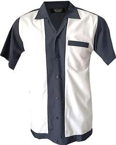 Rockabilly-Fashions-Retro-Vintage-Bowling-Men-039-s-Shirt-1950-1960-Grey-White