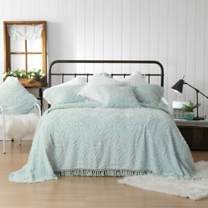 Shabby-Vintage-Chic-Mint-Chenille-Euro-Large-Square-Bed-Pillowcases-NEW