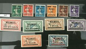 """[167] Memel.French Postage Stamps Overprinted """"MEMEL"""" and Surcharged MH"""