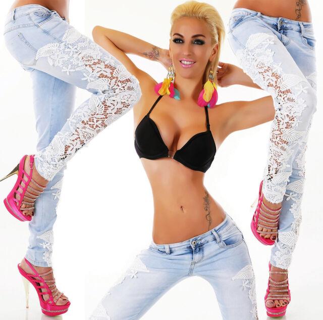 Simply Chic Damen JEANS Jeanshose Röhrenjeans skinny weiße Spitze cut outs Neu