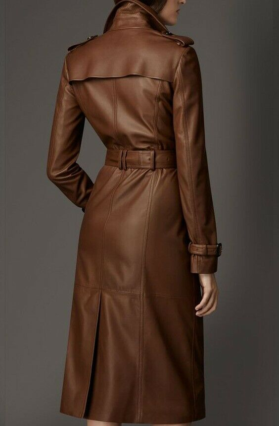 New Women Brown Genuine Leather Stylish Jacket Trench Classic Long Wear For Coat