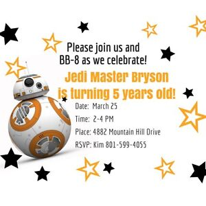 picture about Bb 8 Printable identified as Facts with regards to Star Wars BB-8 Printable JPEG/PDF electronic document Birthday Invites