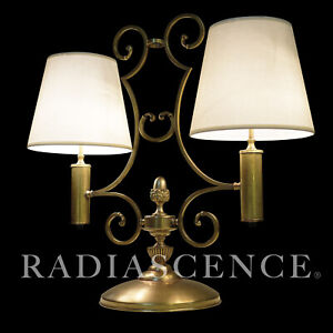 Details About Spanish Revival Modern Art Deco Victorian Large Bronze Brass Twin Table Lamp 20