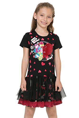 C Robe Fantaisie Noire Rouge 71v32g1 Paillettes Desigual Taille 7 8 Ans Achetez Sur Ebay