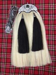 Original Long Horse Hair Sporran White Body 2 black Tassels With Chain Belt