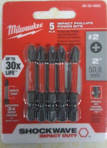 5-Pack Milwaukee 48-32-4602 Shockwave 2-Inch #2 Phillips Power Bit