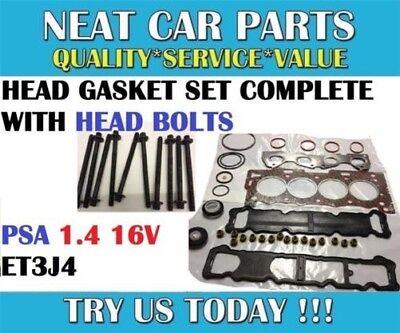 HEAD GASKET SET COMPLETE BOLTS FOR PEUGEOT 207 307 206 1007 1.4 8V TU3JP