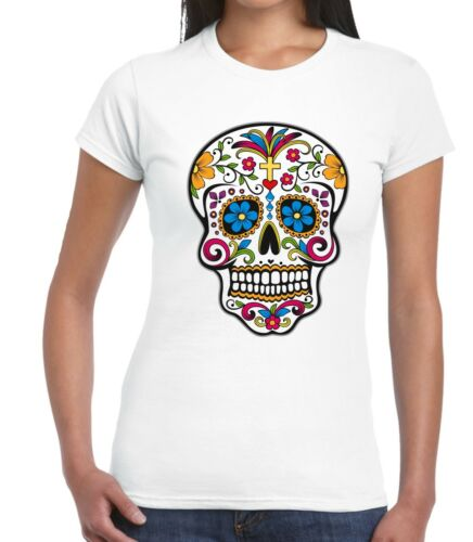 Velocitee Ladies T-Shirt Sugar Skull Tattoo Style Festival Rave Jerry Hardy V164