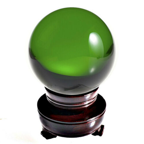 Green (Emerald) Crystal Ball Sphere 4in (110mm) with Wood Stand